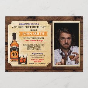 Aged to Perfection Birthday Wood Whisky Photo Invitation