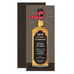 Aged to Perfection Whiskey Big Milestone Birthday Invitation