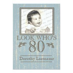 Aged Wood 80th Birthday Photo Blue Invitations
