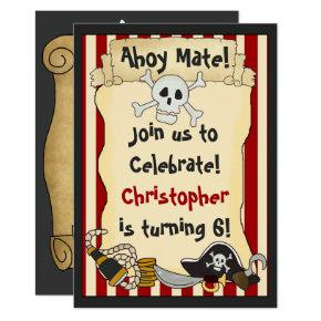 Ahoy Mate! Pirate Boys Birthday Party Invitations