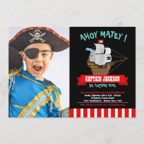 Ahoy Matey! Boat Pirate Birthday Photo Invitation