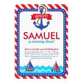 AHOY! Nautical Birthday Party Invitations