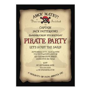 Ahoy Treasure Map Pirate Birthday Party Invitation