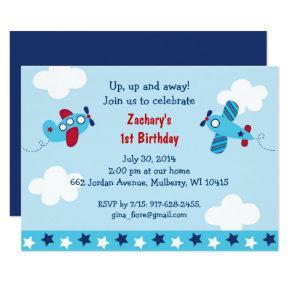 Airplane 1st Birthday Invitation