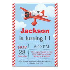 Airplane Birthday Invitation. Boy Birthday Party Invitation