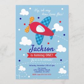 Airplane Birthday Invitation Boy / Time Flies
