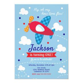 Airplane Birthday Invitation Boy / Time Flies