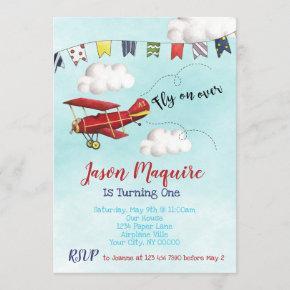 Airplane Birthday Invitation for 1st Birthday Boy