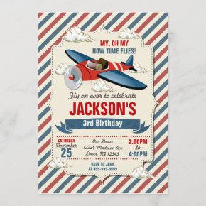 Airplane Birthday Invitation / Time Flies Party