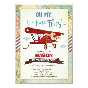 Airplane Birthday Invitations Time flies Plane Boy