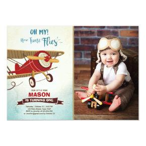 Airplane Birthday Invitation Time flies Plane Boy