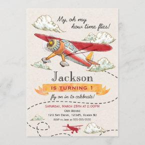 Airplane Birthday Invitation Vintage Plane Invite