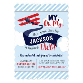 Airplane Birthday Invitations with Envelopes
