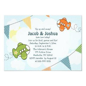 Airplane Birthday Invitations Twins