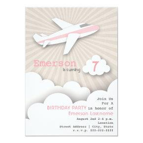 Airplane Birthday Party Invitations - Pink