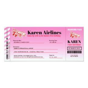 Airplane Boarding Pass Birthday Party Invitation