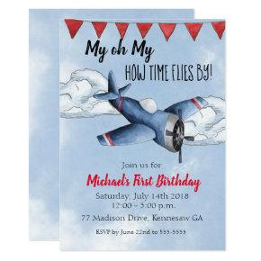 Airplane Boy Birthday Party Invitation