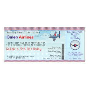 Airplane Kids Airline Ticket Birthday Invitations