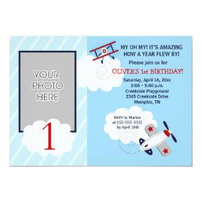 Airplane Little Aviator Red/Blue Photo Birthday Card