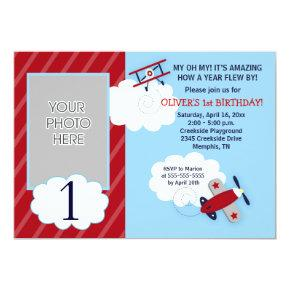 Airplane Little Aviator Red & Navy Photo Birthday Invitations