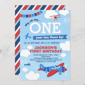Airplane ONE Year Has Flown By 1st Birthday Invitation