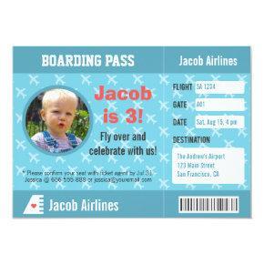 Airplane Pattern Boarding Pass Birthday Party Invitation