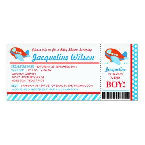 Airplane Ticket Baby Shower Party Invitations