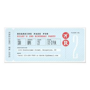 Airplane ticket boarding pass kids birthday party invitation
