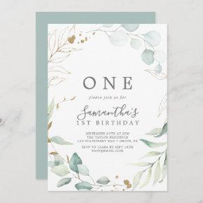 Airy Greenery and Gold Leaf First Birthday Party Invitation