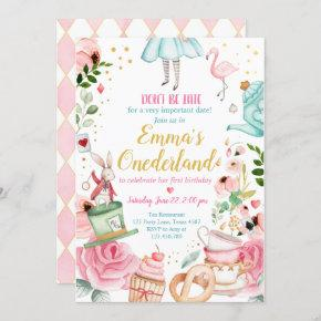 Alice in Onederland 1st Birthday Invitation Girls