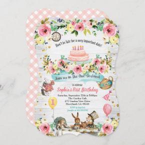 Alice in ONEderland 1st first birthday invitation
