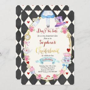 Alice In ONEderland Birthday Invitation Tea Party