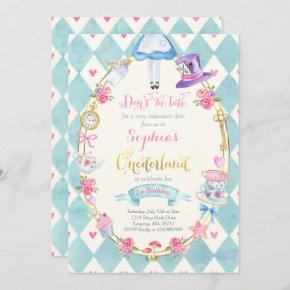 Alice In ONEderland Birthday Invitation Tea Party