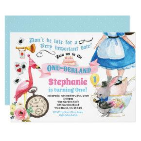 Alice in ONEderland birthday tea party blue Invitation