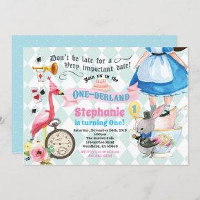 Alice in ONEderland birthday tea party pink Invitation
