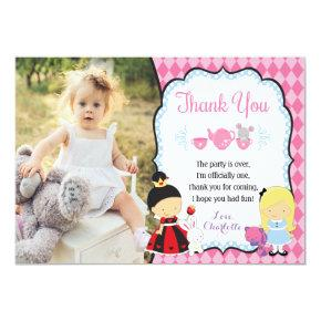 Alice in ONEderland Birthday Thank You Card