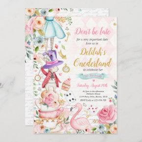 Alice In ONEderland Birthday Whimsical Tea Party Invitation