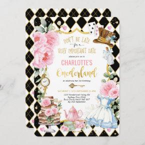 Alice in Onederland Mad Tea 1st Birthday Party Invitation