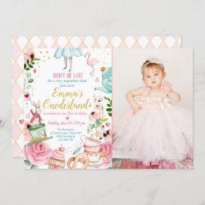 Alice in Onederland Sweet Tea Girl First Birthday Invitation