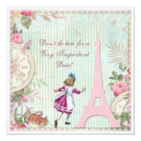 Alice in Paris Shabby Chic Birthday Card