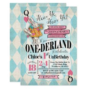 Alice in Wonderland 1st Birthday Invitations