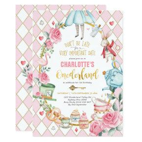 Alice in Wonderland 1st Birthday Onederland Party Invitation