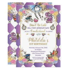 Alice in Wonderland 1st Birthday Onederland Tea Invitation