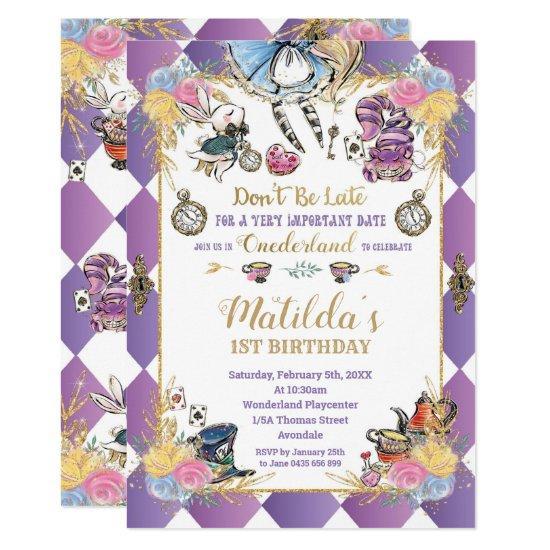 Alice in Wonderland 1st Birthday Onederland Tea Invitation