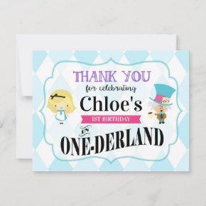 Alice in Wonderland 1st Birthday Thank You
