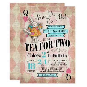 Alice in Wonderland 2nd Birthday Invitations