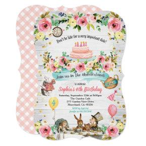 Alice in Wonderland baby birthday Invitations