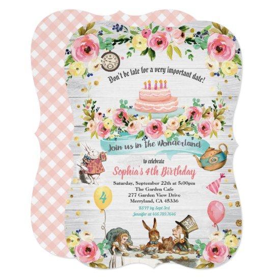 Alice in Wonderland baby birthday invitation
