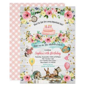Alice in Wonderland baby birthday Invitations gold
