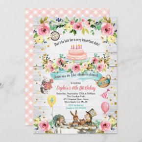 Alice in Wonderland baby birthday invitation gold
